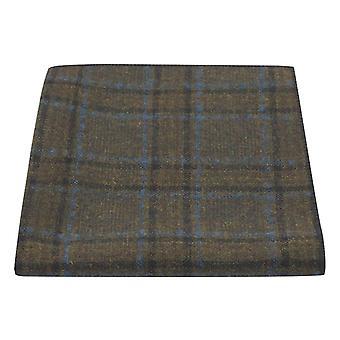 Olive Green & Brown Check Pocket Square, Tweed, Tartan, Plaid