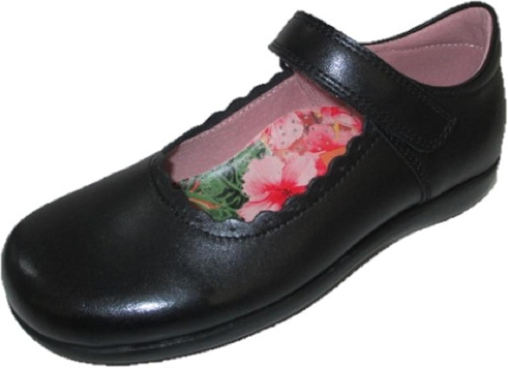 Petasil Girls blanche School chaussures noir E Fitting