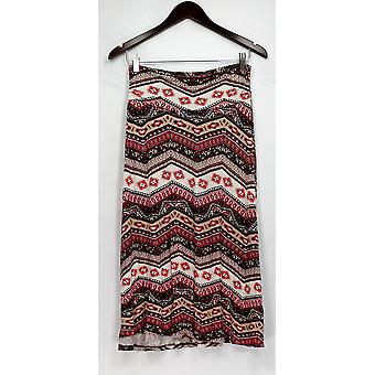 Bobeau Skirt Printed Stretch Knit Pull On Pink / Brown