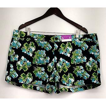 Merona Plus Shorts 4 Pocket Floral Print Blue Womens