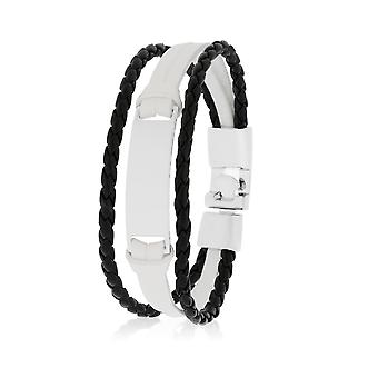 Skipper Armband Lederarmband Armschmuck in Weiß/Schwarz 8129