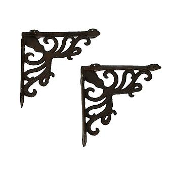 Rustic Brown Pulpo Costero y Scroll Wall Estante Set de 2