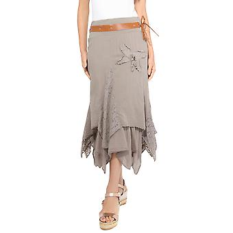 KRISP  Womens Lace Layered Hitched Maxi Skirt A Line Gypsy Boho Long Asymmetric Summer