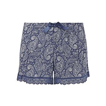 Guy de France 18024-1-093 Women's Blue Motif Pajama Pyjama Short