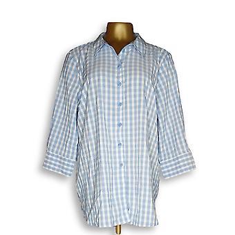 Joan Rivers Classics Collection Women's Top Gingham Shirt Blue A352384