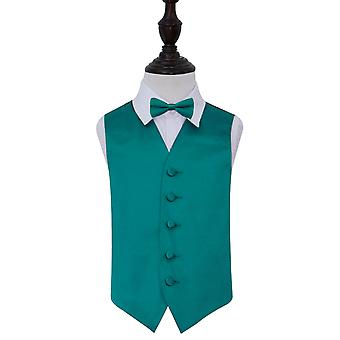 Boy's Teal Plain Satin Wedding Waistcoat & Bow Tie Set