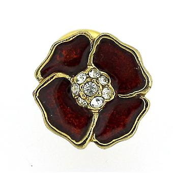 Brooches Store Gold Plated, Swarovski Crystal and Red Enamel Poppy Lapel Pin