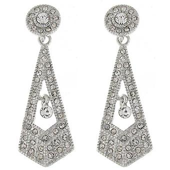 Clear Swarovski Crystal Triangle Drop Earrings