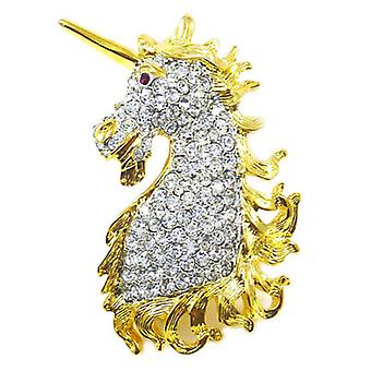 Kenneth Jay Lane Crystal and Gold Plated Unicorn Head Brooch