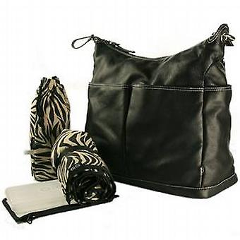 OiOi Black Leather Changing Bag