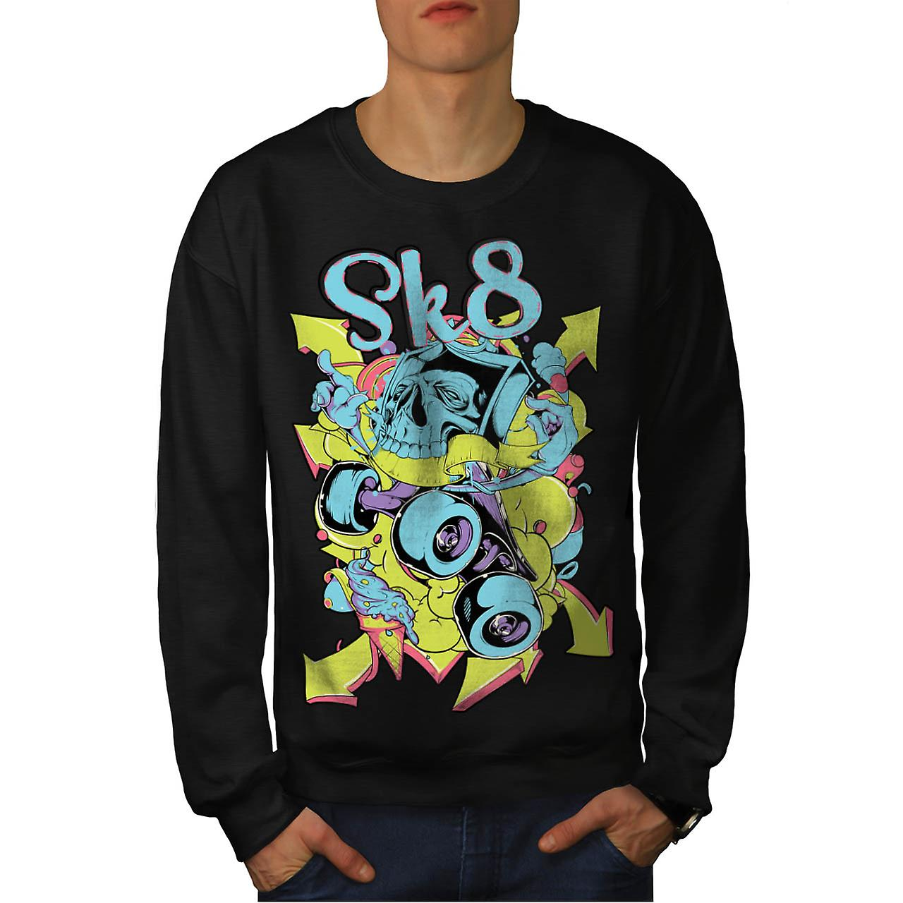 Skate Street Urban Skull Men Black Sweatshirt | Wellcoda
