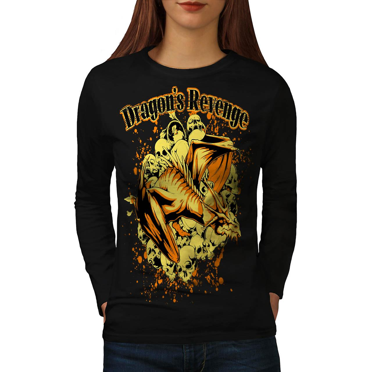 Dragon's Revenge Fantasy Women Black Long Sleeve T-shirt | Wellcoda