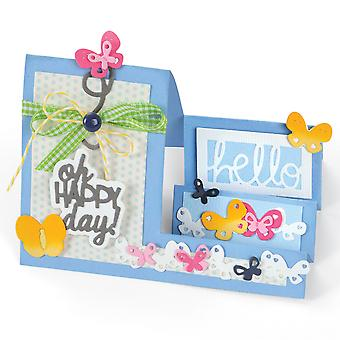 Sizzix Framelits Dies By Stephanie Barnard 14/Pkg-Oh Happy Day Mini Step-Ups Card 660711