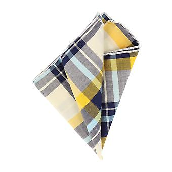 Andrews & co. blue-white-yellow plaid handkerchief Hanky Cavalier cloth