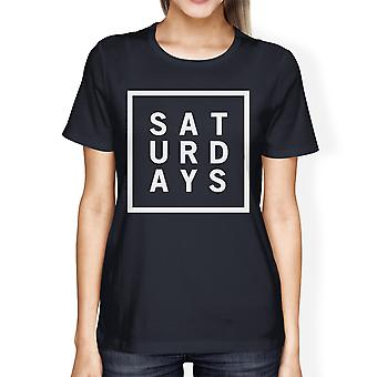 Saturdays Ladies' Navy Shirt Short Sleeve Tee Typographic Print