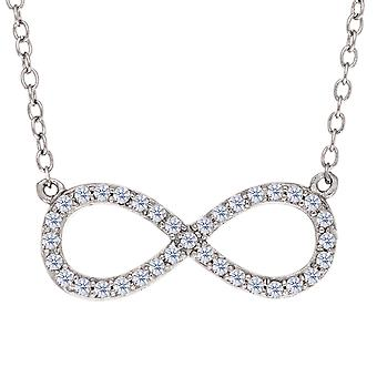 Infinity Sign Link And CZ Necklace In Sterling Silver, 18