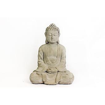37X28CM SITTING BUDDHA CERAMIC HOME GARDEN DECORATION WHITE FIGURINE