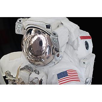 ポスター印刷の船外活動中に宇宙飛行士のヘルメットのバイザー