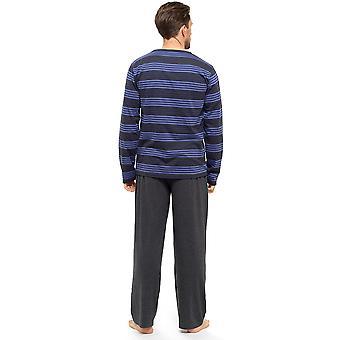 أعلى الأكمام الطويلة شريطية رجالي & سروال بيجاما صالة ارتداء