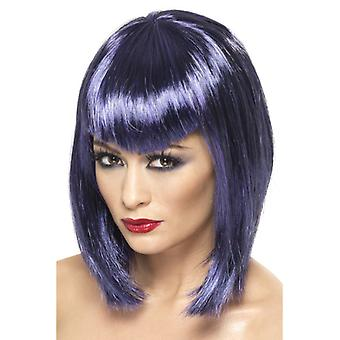 Wig vamp purple short with bangs