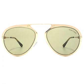 Tom Ford Dashel Sunglasses In Shiny Rose Gold Green