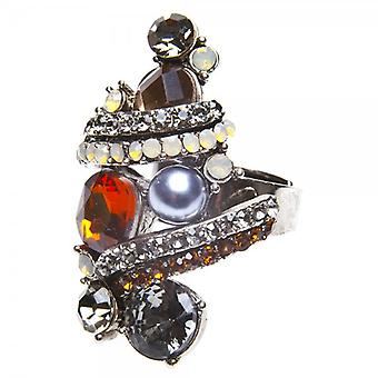 Camille Womens Ladies Fashion Jewellery Grey And Amber Adjustable Vintage Diamante Ring