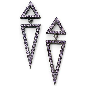 925 Silver Plated Cobalt Triangle And Zirconium Earring
