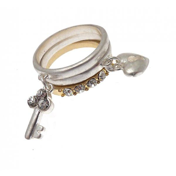 W.A.T Matt Gold And Silver Heart Shaped Padlock And Key Stacking Rings