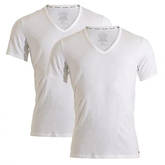 Calvin Klein ID Cotton Short Sleeved Slim Fit V-Neck T-Shirt 2-Pack, White, X-Large