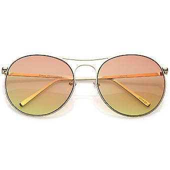 Oversize Metal Aviator Sunglasses Double Nose Bridge Round Gradient Flat Lens 65mm