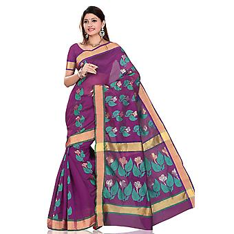 紫の夕べサリー サリー生地ベリーダンス インド ラップします。