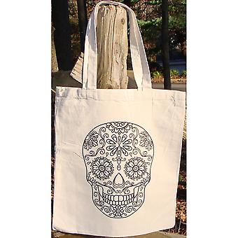 Stamped Canvas Tote To Color-Skull 98115T