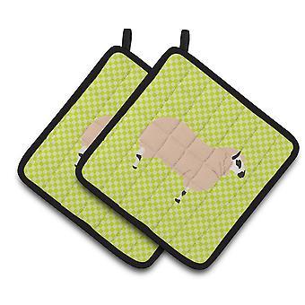キャロラインズ宝物 BB7805PTHD ケリー ・ ヒルは羊グリーン ポット ホルダーのペア