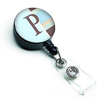 Buchstaben P erste Monogramm - blauen Streifen versenkbare Abzeichen Reel