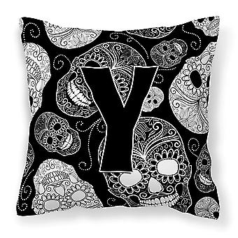 Letter Y Day of the Dead Skulls Black Canvas Fabric Decorative Pillow