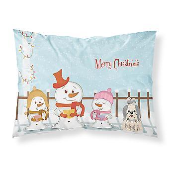 Joyeux Noël chanteurs Shih Tzu argent tissu blanc taie d'oreiller Standard