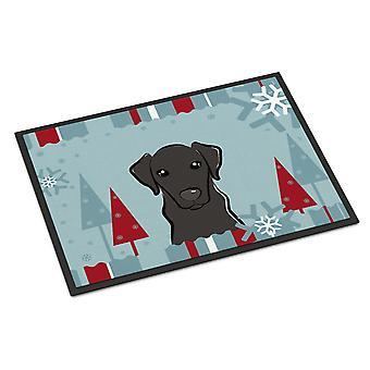 Winter Holiday Black Labrador Indoor or Outdoor Mat 24x36