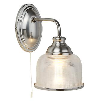 Searchlight 2671-1SS Bistro II One Light Wall Light In Satin Silver With Glass Shades