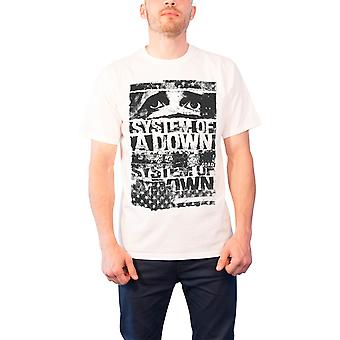 System Of A Down  Shirt Torn Flag band logo Official Mens White