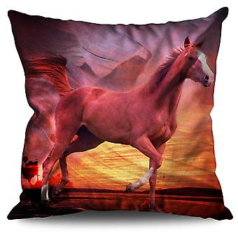 Native American Horse Linen Cushion Native American Horse   Wellcoda