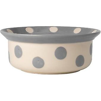 PetRageous Designs Polka Paws Bowl - Holds 4 Cups-Gray 14017