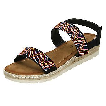 Ladies Savannah Coloured Studded Sandals - Tan Textile - UK Size 8 - EU Size 41 - US Size 10