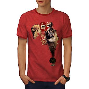 Lion Cat Face Wild Animal Men Heather Red / RedRinger T-shirt | Wellcoda