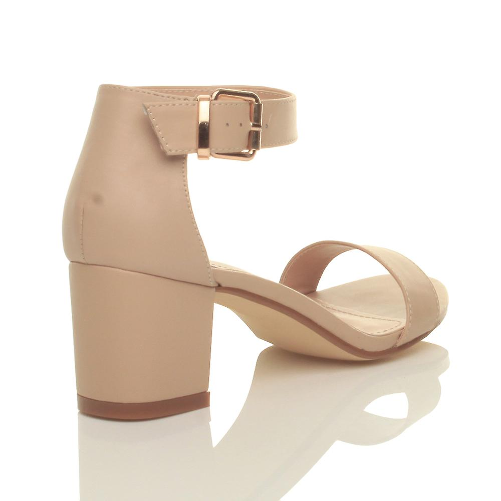 39e9b203fd5 Ajvani womens low mid block heel ankle strap buckle wedding bridesmaid  evening party strappy sandals