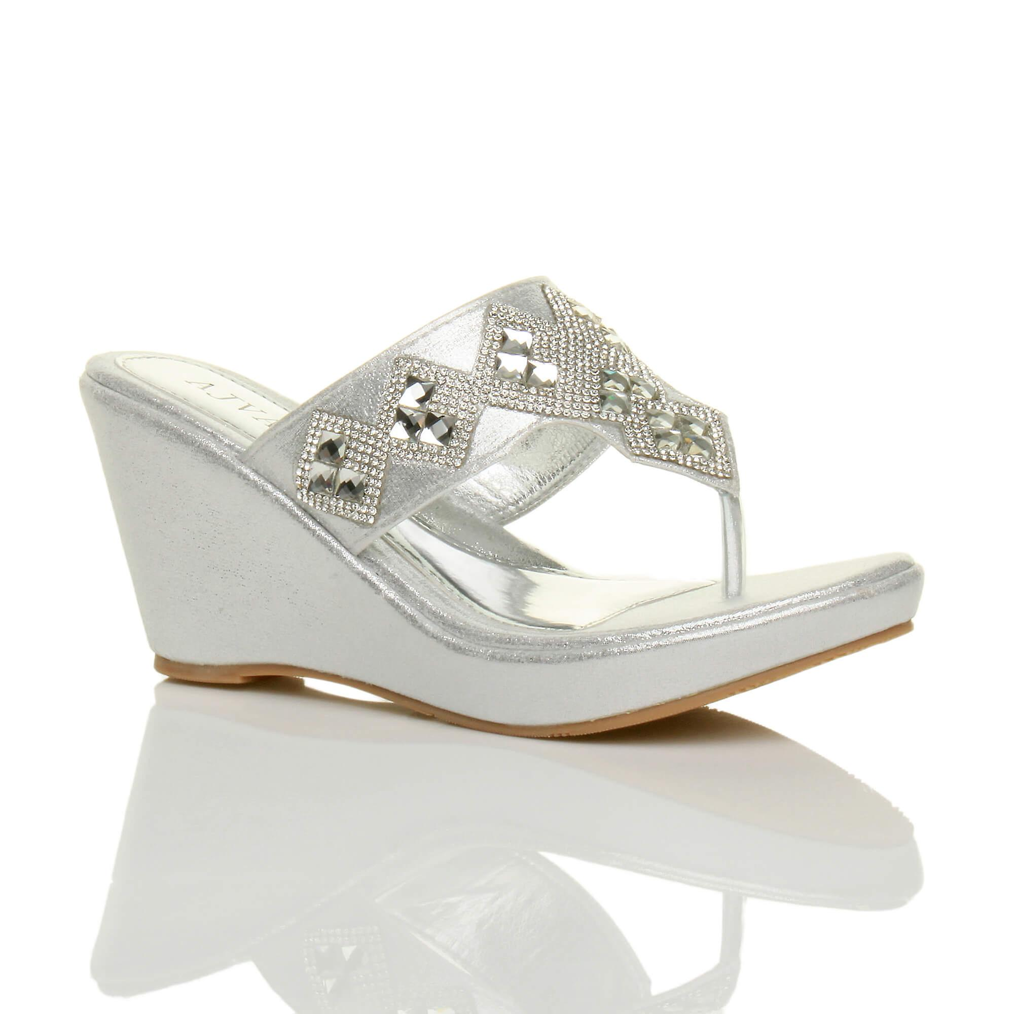 toe t platform high diamante post heel mules bar womens Ajvani sandals wedge xnqYWFqC
