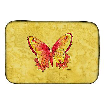 Carolines Treasures  8857DDM Butterfly on Yellow Dish Drying Mat