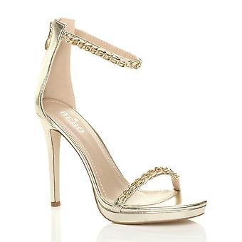 Ajvani womens high heel barely there chain strappy sandals party shoes