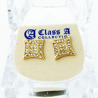 Gold bling iced out earrings - ULTRA 10 mm
