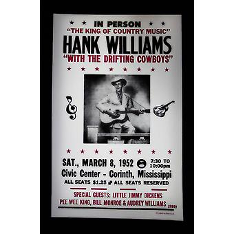Hank Williams retro concert poster