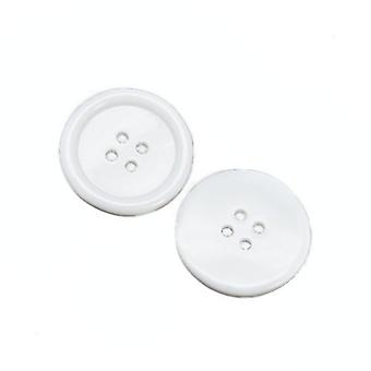 Packet 20 x White Acrylic 23mm Round 4-Holed Sew On Buttons HA11025
